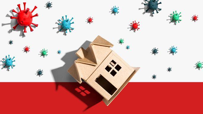 House with influenza and Coronavirus concept