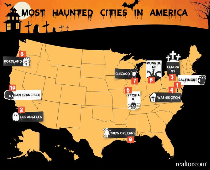 Top 10 cities where you 39 re most likely to find a haunted for Top ten cities in the us