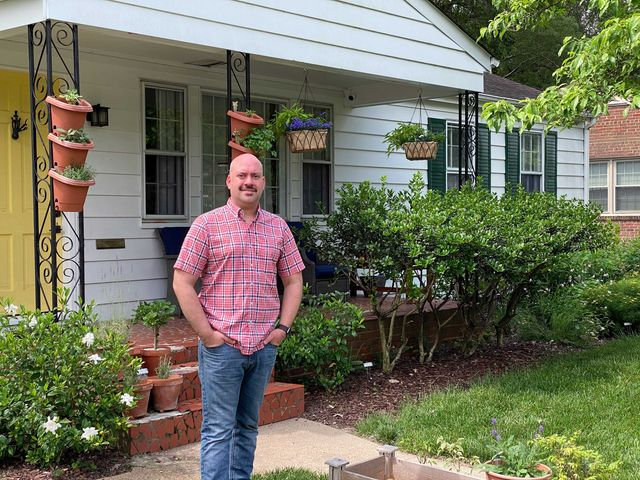 Chris Fullman in front of his home in Henrico, VA