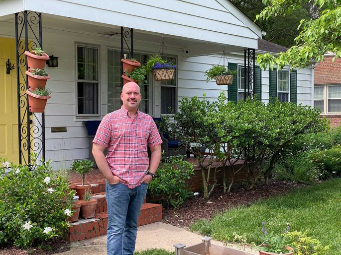Chris Fullman in front of his home in Henrico, VA