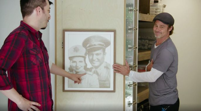 The brothers surprised both Pitt and Jean by hanging a picture of Jean's parents on the inside door of the storage closet.