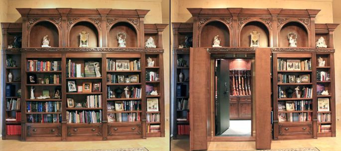 A Hidden Bookshelf Leading To A Gun Room. Home Design Ideas