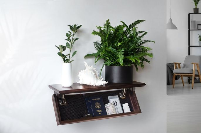 A simple floating shelf can function as a safe.