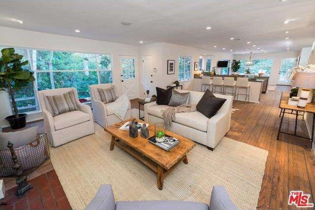 An extended living and dining space