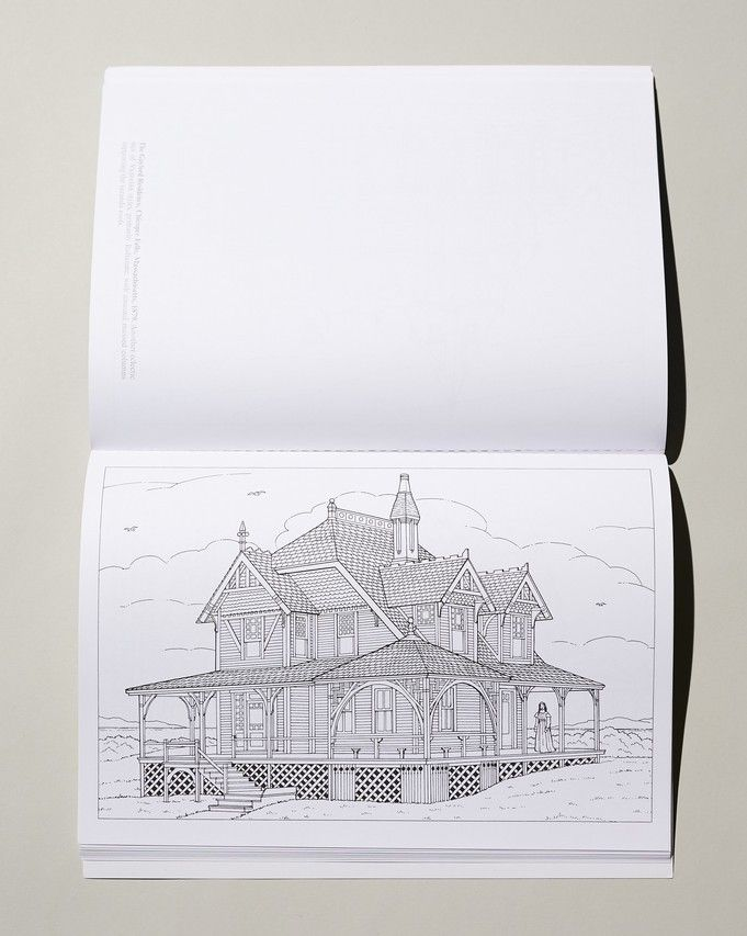 A 'Victorian Houses' illustration that's ready for creative coloring.