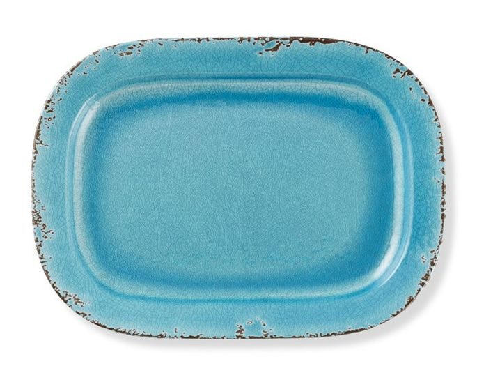 This rustic platter is actually lightweight melamine.