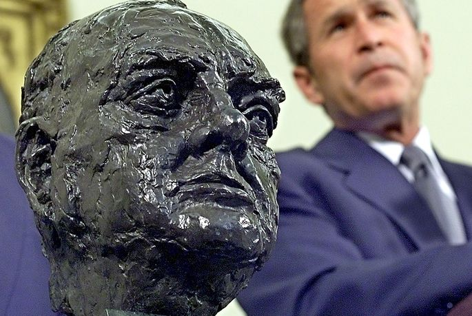 A bust of Winston Churchill that George W. Bush received.