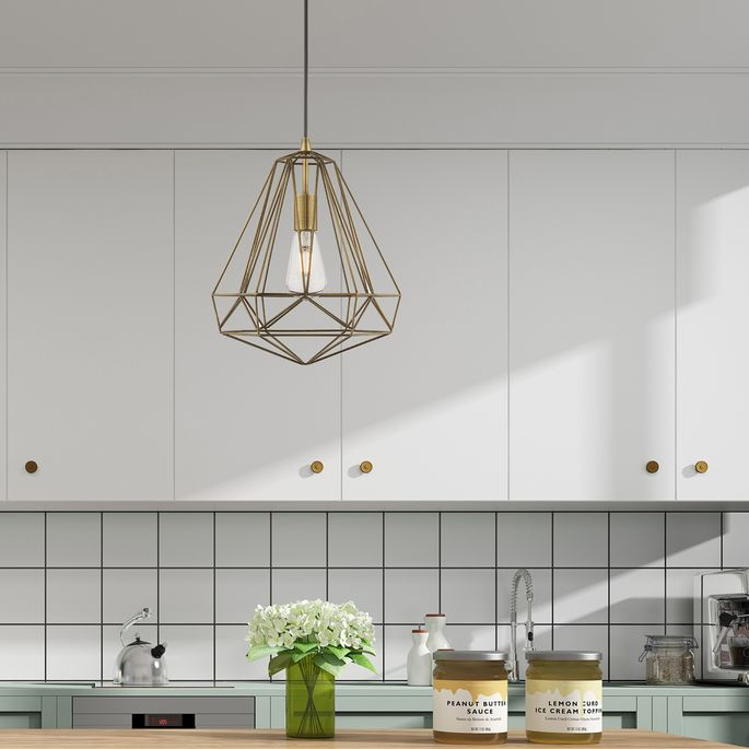 Choose an industrial bulb for this elegant pendant light.