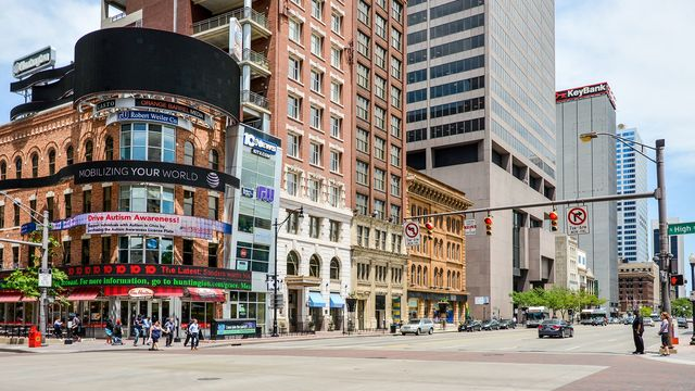 Revitalized downtown district in Columbus, OH