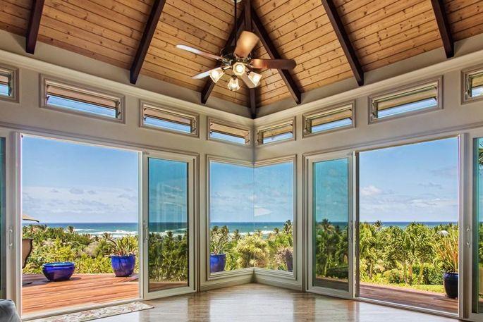 Glass doors open to the deck.