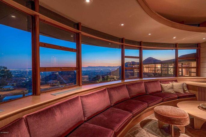 Circular living room with canyon views