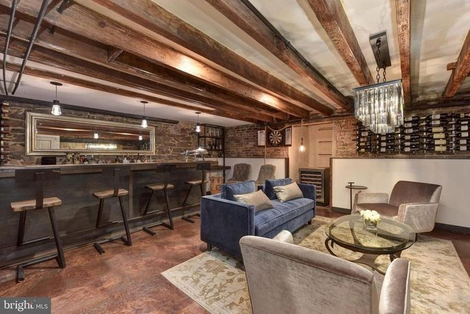 Lower level with bar and wine wall