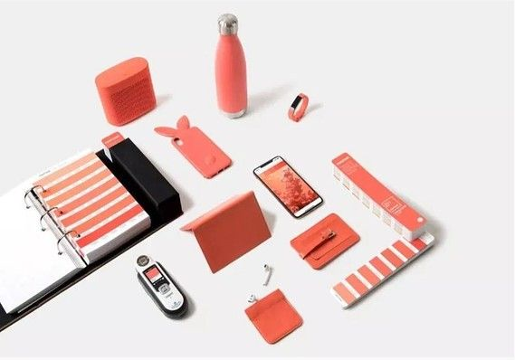 A collection of Living Coral-colored items.