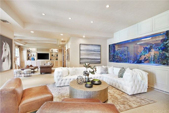 Family room with 150-gallon fish tank