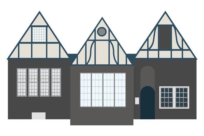 Tudor with multifaçade gables