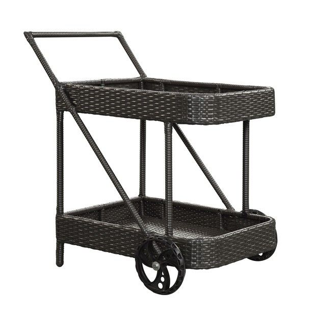 Synthetic rattan is easy to clean and makes this bar cart a winner.
