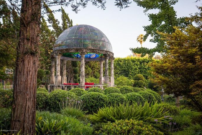 Domed pavilion with stained glass