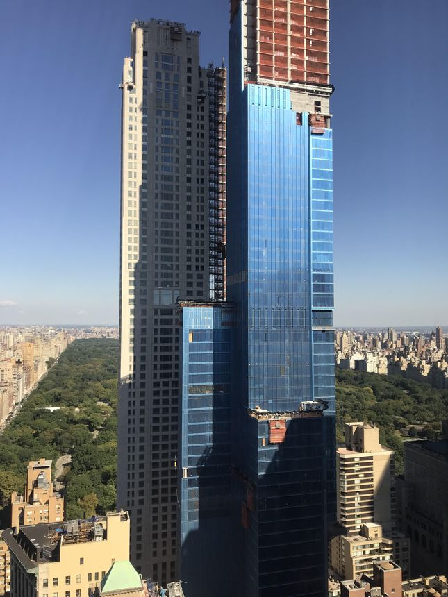A view of Central Park Tower, under construction