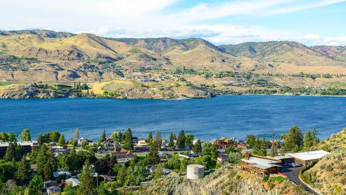 The waters of Lake Chelan are clean enough to drink—or you can quaff one of the local wines.