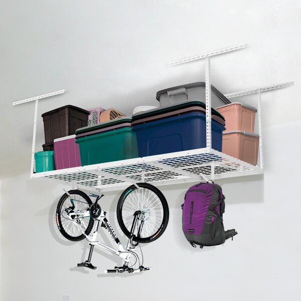 Ceiling racks provide extra storage and free up space in the garage.