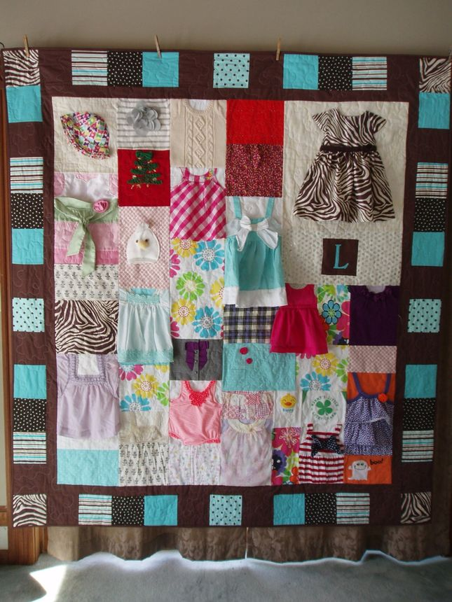 Baby dresses get new life as a cozy quilt.