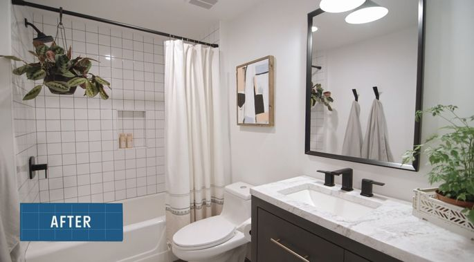 With a new vanity, this guest bathroom is complete.
