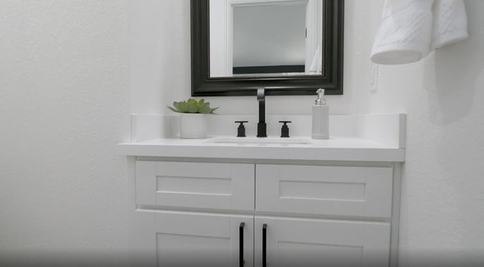 Anstead was worried about this small bathroom, but it looks great.
