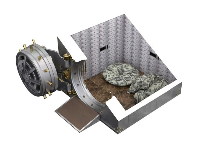 Interior of the bank vault doghouse