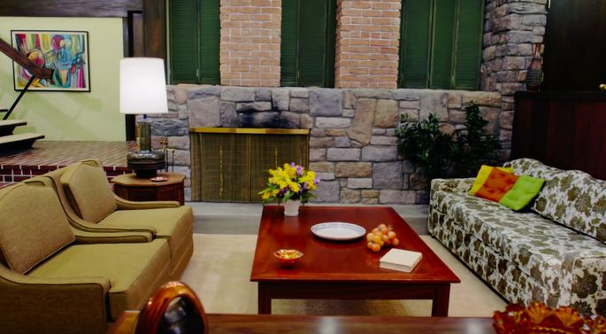 The team had to create this electric fireplace to match the one on the show.