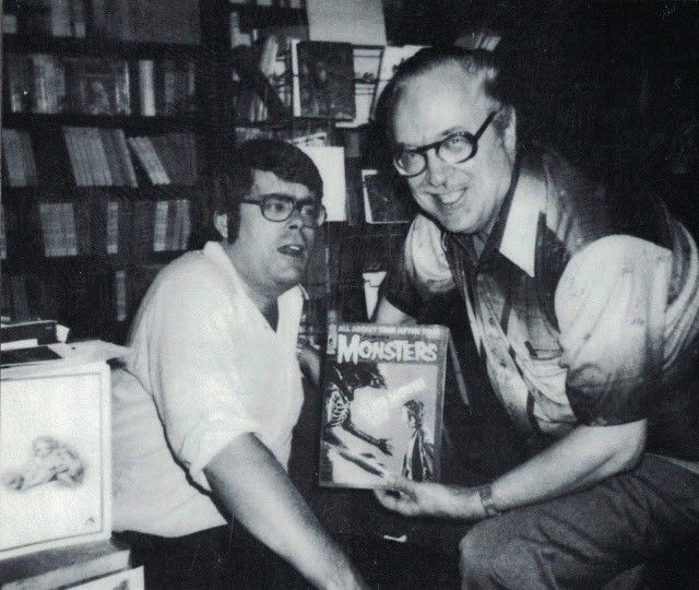 Forrest J. Ackerman with a young Stephen King in the Ackermansion