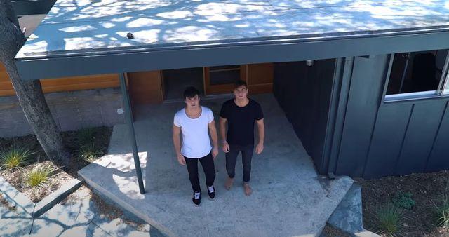 Dolan twins outside Encino house