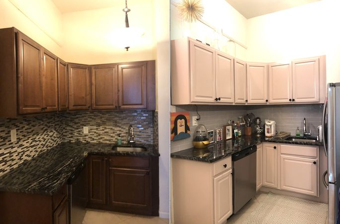 Left: Original kitchen cabinets and backsplash Right: Painted kitchen cabinets and stick-on wall tiles