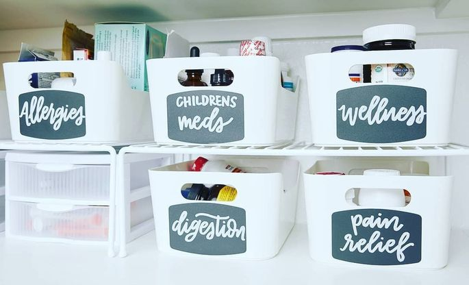 Organizing and labeling your medicines make it easy to find what you need in a pinch.