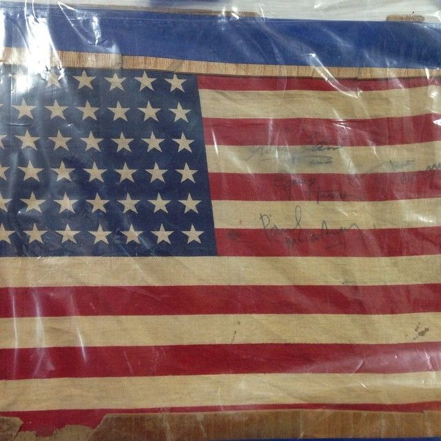 Flag signed by The Beatles.