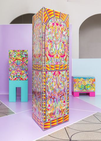 Collection of furniture featuring laminate printing by London designer Adam Nathaniel Furman.