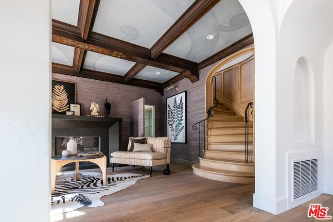 Staircase and ceiling beams with original custom features