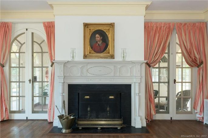 One of the home's five working fireplaces