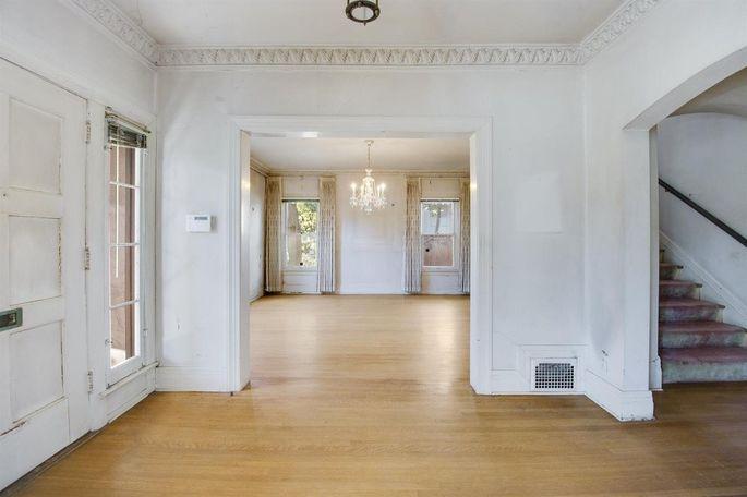 Original crown moldings and wood floors