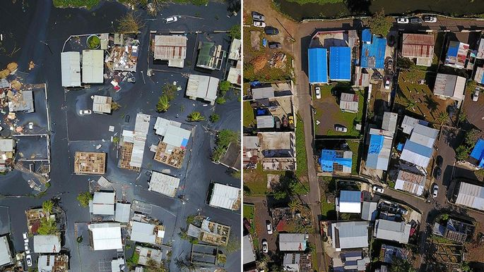 Left: Flooded neighborhood in Catano, Puerto Rico, on Sept. 22, 2017, and the same neighborhood six months later.