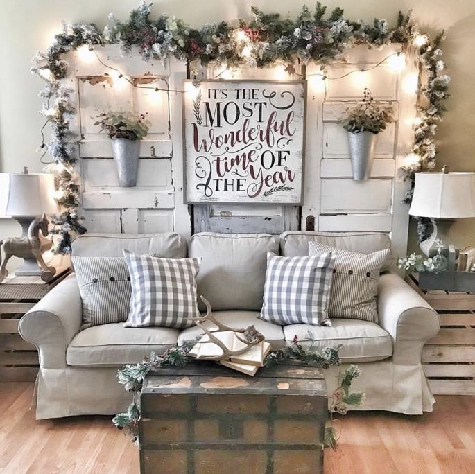 You can drape twinkle lights over furniture or built-ins to decorate without nails.