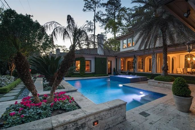Pool and spa with Italian tile