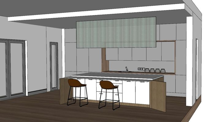 A drop-down screen converts the kitchen into a space for work or a classroom.
