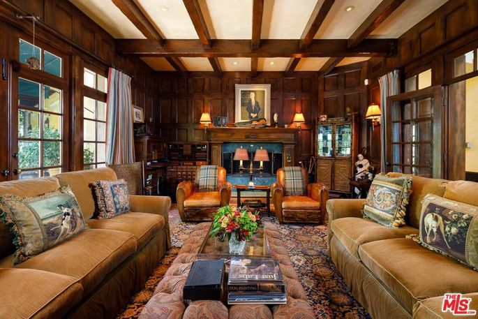 Wood-paneled den