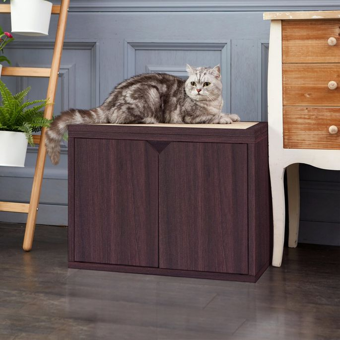 Hide litter boxes in this cabinet, which also has a scratch pad.