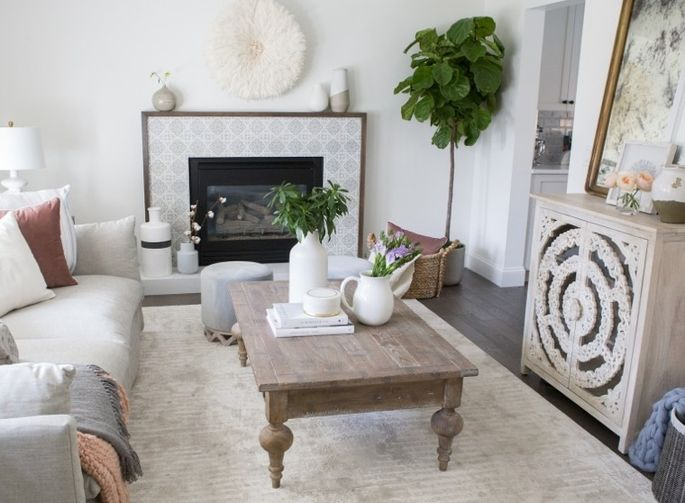This light living room has a gorgeous new fireplace that cost a pittance.