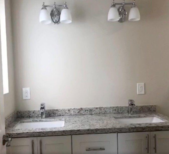 New vanities got an upgrade with granite countertops.