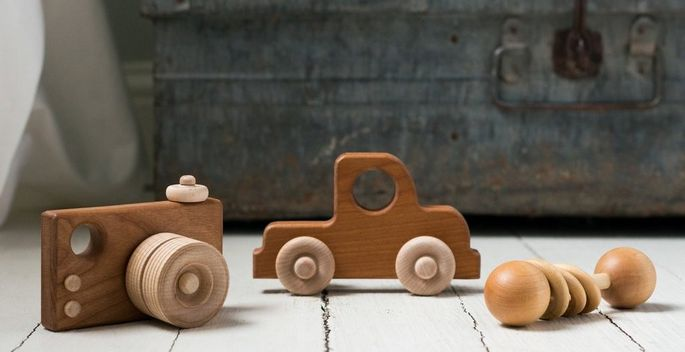 These wooden toys fit perfectly with Jo's rustic-minimalist design aesthetic.