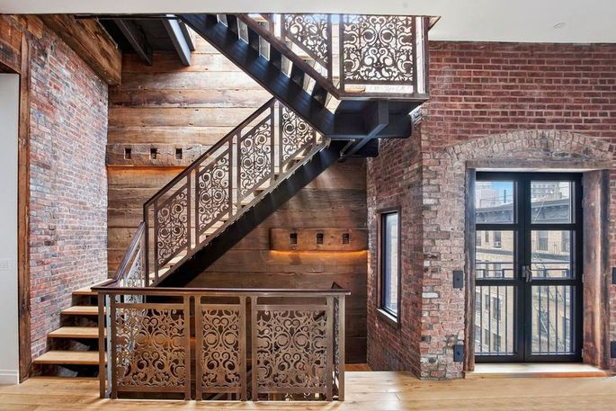 Staircase with intricate ironwork