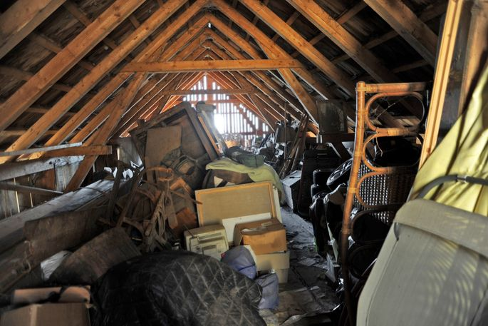 Spiders love cluttered spaces like this attic.