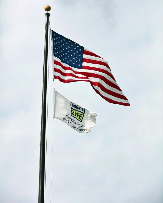 Make sure any other flags are displayed below the American one.